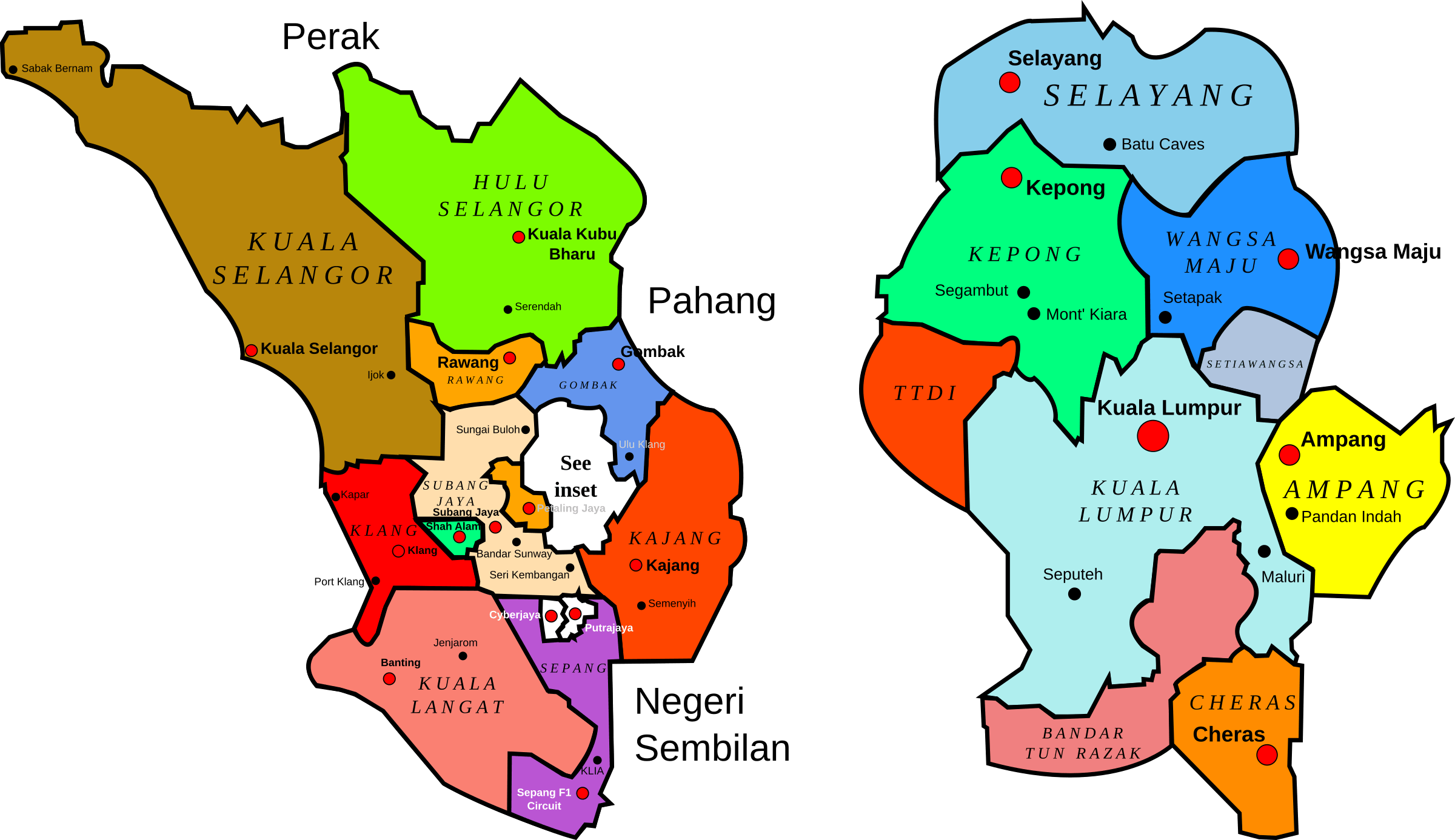 Map of Selangor & KL districts