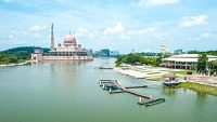 The mosque can be seen from many vantage points in Putrajaya.